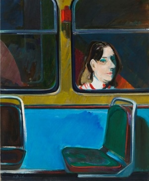 Mergina prie troleibuso