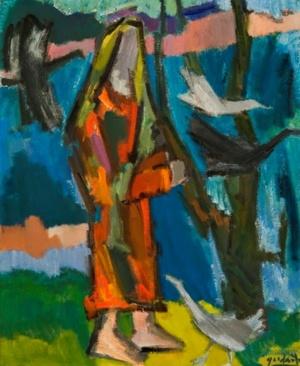 Moteris su paukščiais