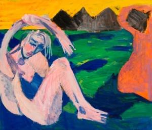 Dvi moterys žalioje pievoje