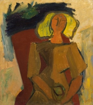Woman with a flowerpot