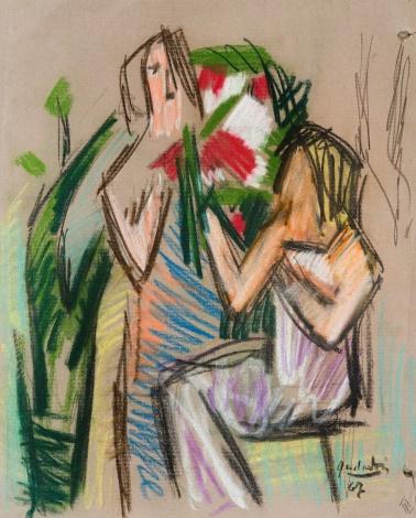 """Eskizas paveikslui """"Moteris su gėlėmis III"""""""