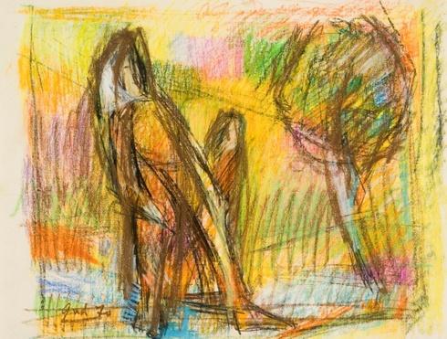 """Eskizas paveikslui """"Moteris ir žuvys grįžta namo"""""""