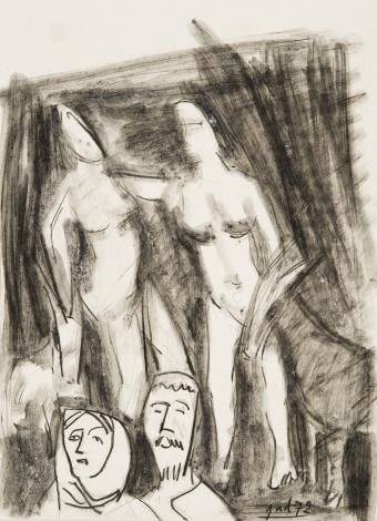 """Eskizas paveikslui """"Du proseneliai ir dvi šokančios merginos"""""""