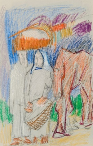 "Eskizas paveikslui ""Du valstiečiai ir kumeliukas"""