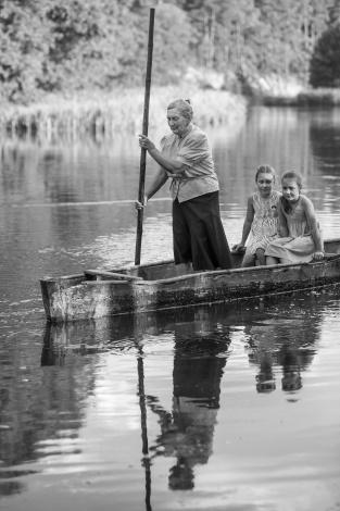 Janina Paukštienė With Her Grandchildren In Ašmena. Gervėčių Region, Byelorussia.