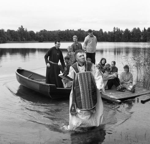 Priest Algirdas Dauknys At Veprys Lake. Baltriškės.