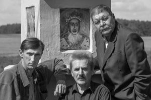 Viktoras Razvadovskis, Viktoras Urbanavičius And Vitoldas Urbanovičius Near The Monument For Vytautas Ar Girios. Gervėčių Region, Byelorussia.