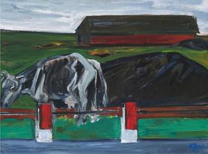 Karvė prie plento