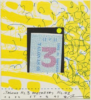 """Talono Nr. 3 portretas. Iš grupės """"1"""" narių kūrinių aplanko (1992)"""