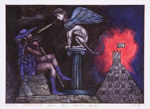 Antikos heraldizacija/ Edipas spėja Sfinkso mįslę